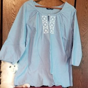 Basic Editions lite blue tunic with beading